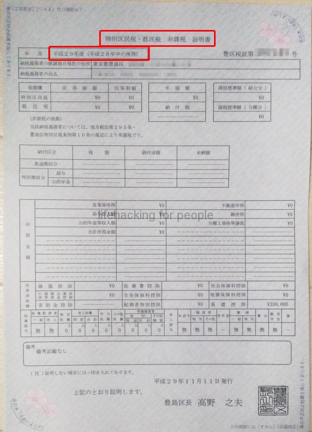 嫁の「特別区民税・都民税 非課税 証明書」(年度 平成29年度(平成28年度中の所得))