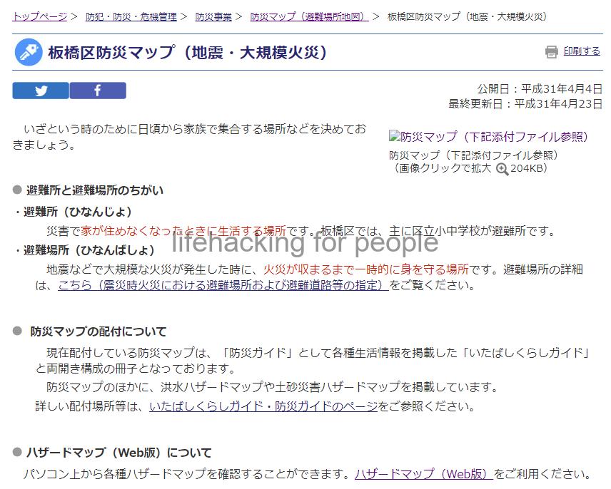 板橋区防災マップ(地震・大規模火災)